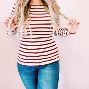 Red and White Striped Long Sleeve Tee Medium